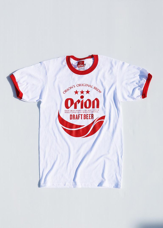 オリオンビール リンガー 丸ロゴTシャツ  白/赤 (WHT/RED)   ORIONBEER T-SHIRT