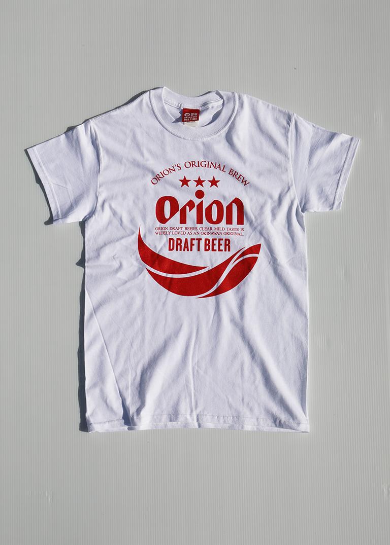 オリオンビール 丸ロゴTシャツ     白(WHITE インク赤)   ORIONBEER T-SHIRT