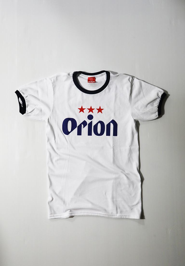 オリオンビール リンガー 文字ロゴTシャツ 白/紺 (WHT/NAVY) ORIONBEER T-SHIRT