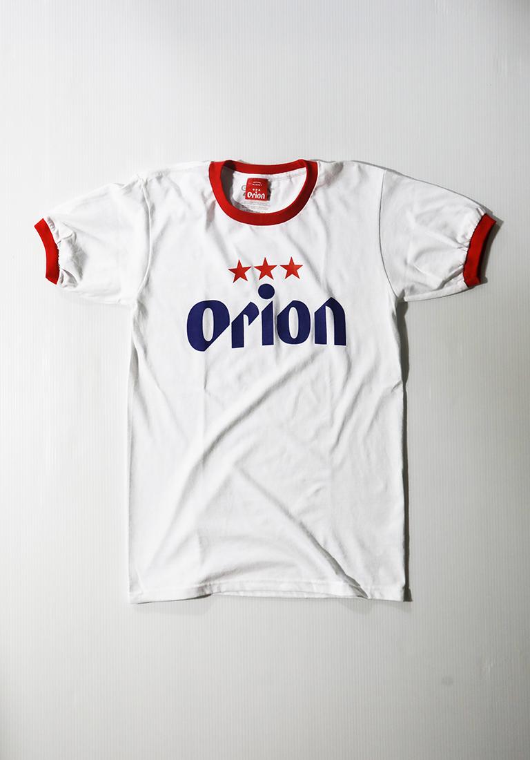 オリオンビール リンガー 文字ロゴTシャツ 白/赤 (WHT/RED) ORIONBEER T-SHIRT
