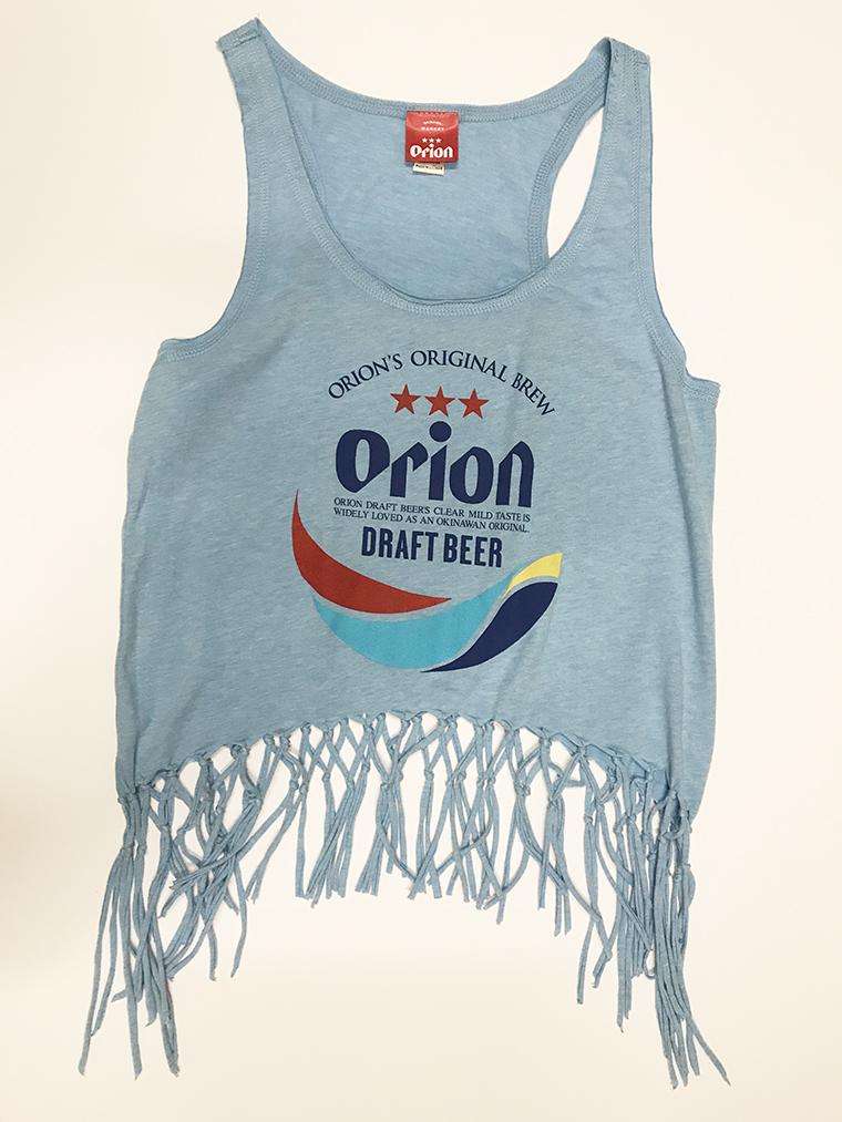 オリオンビール レディース  丸ロゴ フリンジタンクトップ 水色(AZURE) (インク MIX) ORIONBEER TANK TOP