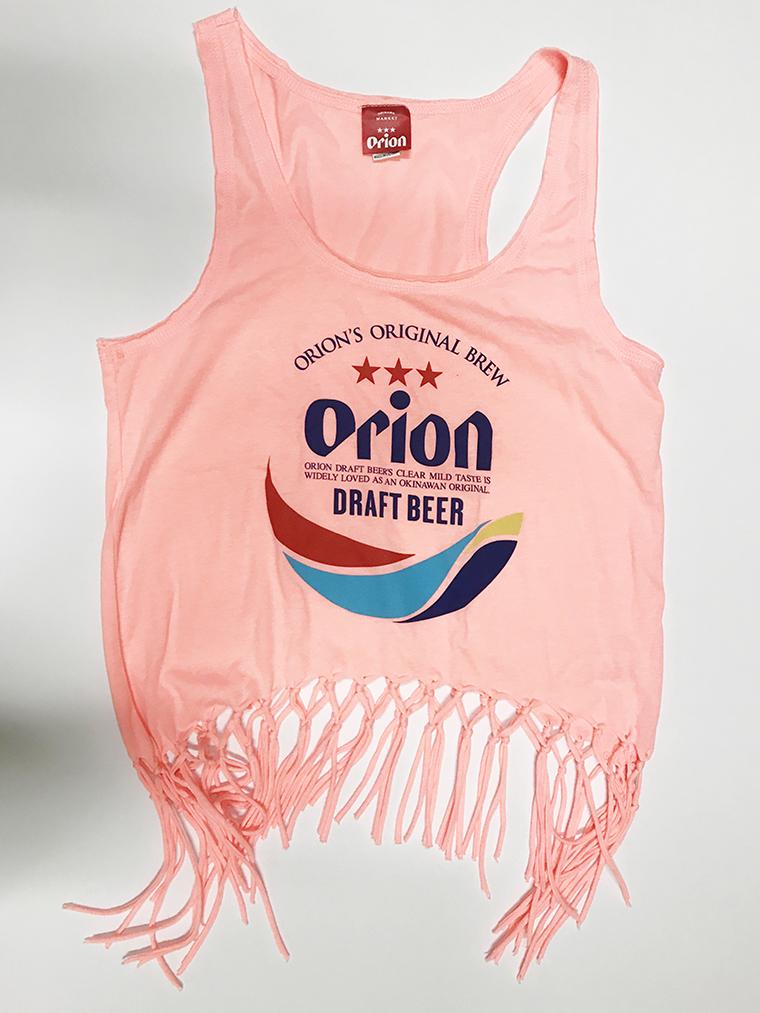 オリオンビール レディース 丸ロゴ フリンジタンクトップ ピンク(FLAMINGO) (インク MIX) ORIONBEER TANK TOP