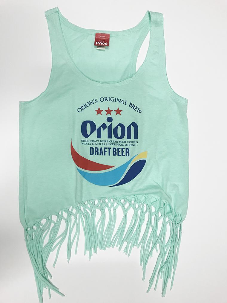オリオンビール レディース 丸ロゴ フリンジタンクトップ グリーン(ICE GREEN) (インク MIX) ORIONBEER TANK TOP