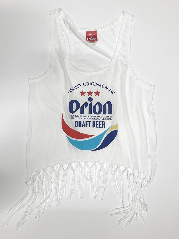 オリオンビール レディース 丸ロゴ フリンジタンクトップ 白(WHITE) (インク MIX) ORIONBEER TANK TOP