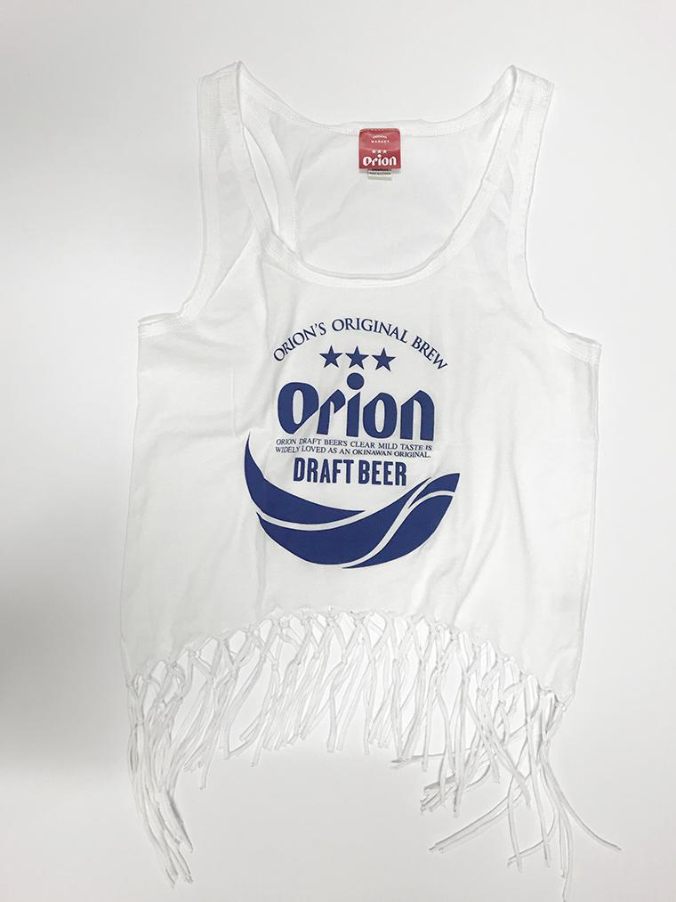 オリオンビール レディース 丸ロゴ フリンジタンクトップ 白(WHITE) (インク NAVY) ORIONBEER TANK TOP