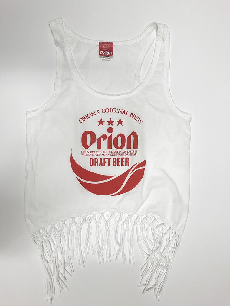 オリオンビール レディース 丸ロゴ フリンジタンクトップ 白(WHITE) (インク RED) ORIONBEER TANK TOP