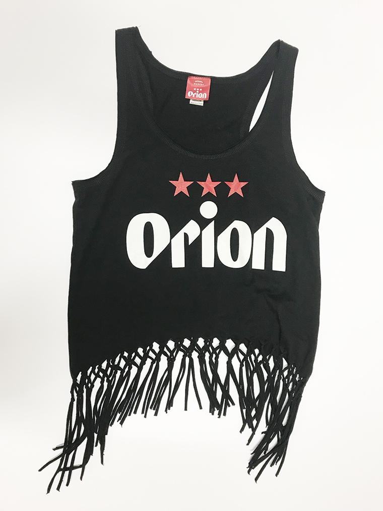 オリオンビール レディース 文字ロゴ フリンジタンクトップ 黒(BLACKK) (インク WHITE) ORIONBEER TANK TOP