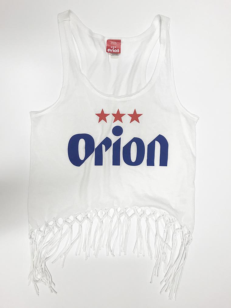 オリオンビール レディース 文字ロゴ フリンジタンクトップ 白(WHITE) (インク NAVY) ORIONBEER TANK TOP