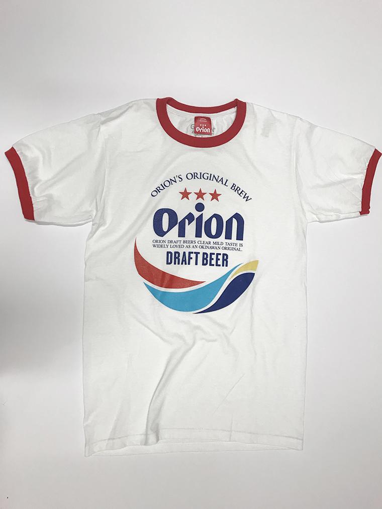 オリオンビール リンガー 丸ロゴMIX Tシャツ  白/赤 (WHT/RED) ORIONBEER T-SHIRT