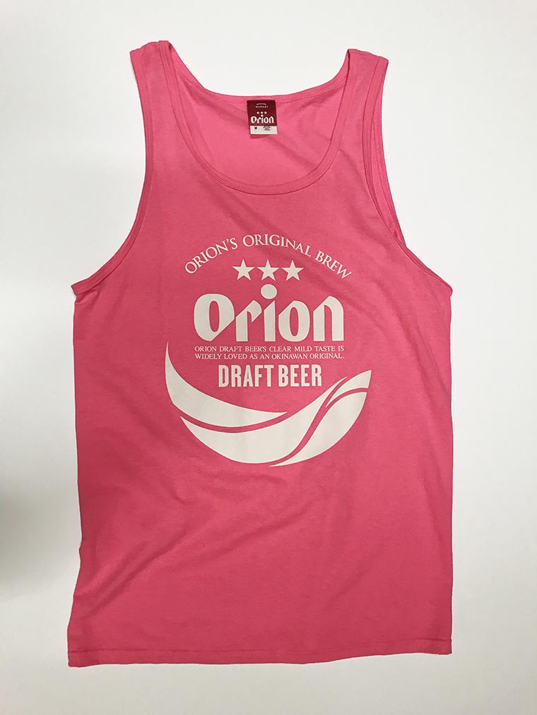 オリオンビール 丸ロゴ タンクトップ 蛍光ピンク(NEON PINK) (インク WHITE) ORIONBEER TANK TOP