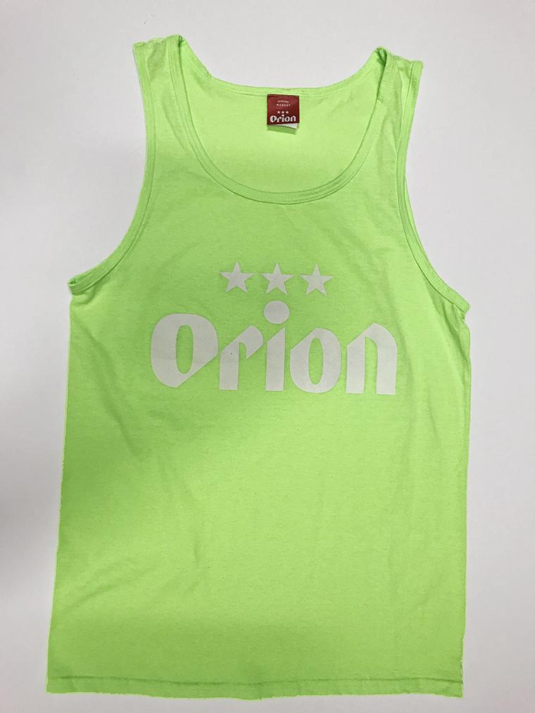 オリオンビール 文字ロゴ タンクトップ ネオングリーン(NEON GREEN) (インク WHITE) ORIONBEER TANK TOP