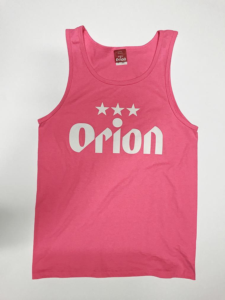 オリオンビール 文字ロゴ タンクトップ ネオンピンク(NEON PINK) (インク WHITE) ORIONBEER TANK TOP