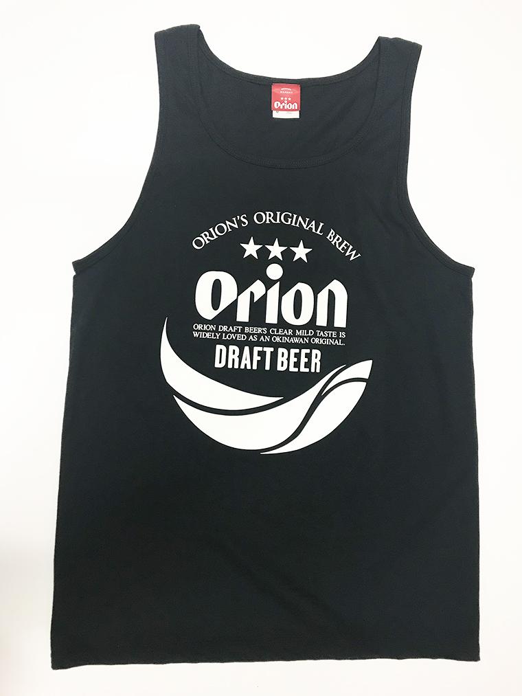 オリオンビール 丸ロゴ タンクトップ 黒(BLACK) (インク WHITE) ORIONBEER TANK TOP