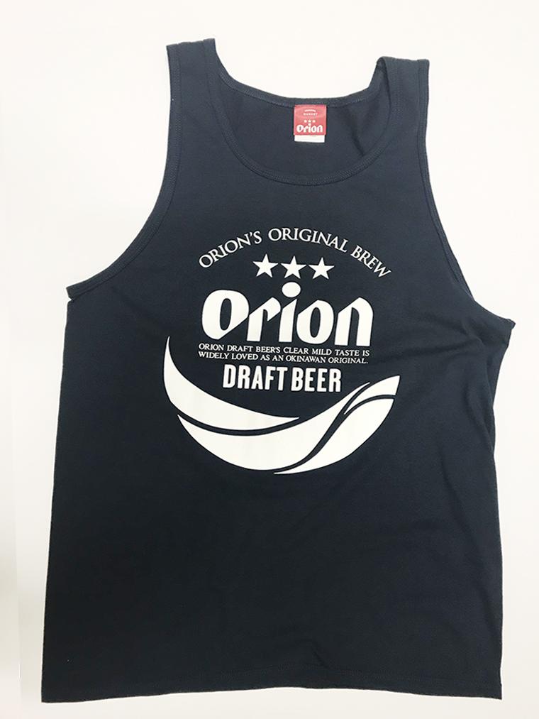 オリオンビール 丸ロゴ  タンクトップ 紺(NAVY) (インク WHITE) ORIONBEER TANK TOP