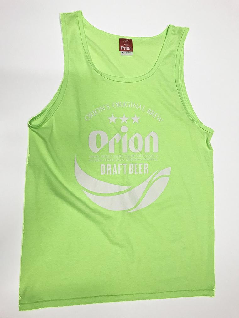 オリオンビール 丸ロゴ タンクトップ 蛍光グリーン(NEON GREEN ) (インク WHITE) ORIONBEER TANK TOP