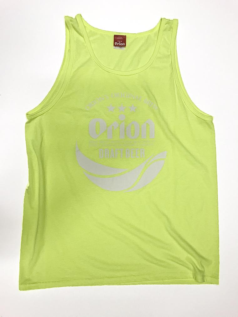 オリオンビール 丸ロゴ タンクトップ セーフティグリーン(SAFETY GREEN ) (インク WHITE) ORIONBEER TANK TOP