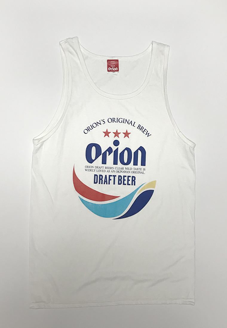 オリオンビール 丸ロゴ  タンクトップ 白(WHITE) (インク MIX) ORIONBEER TANK TOP