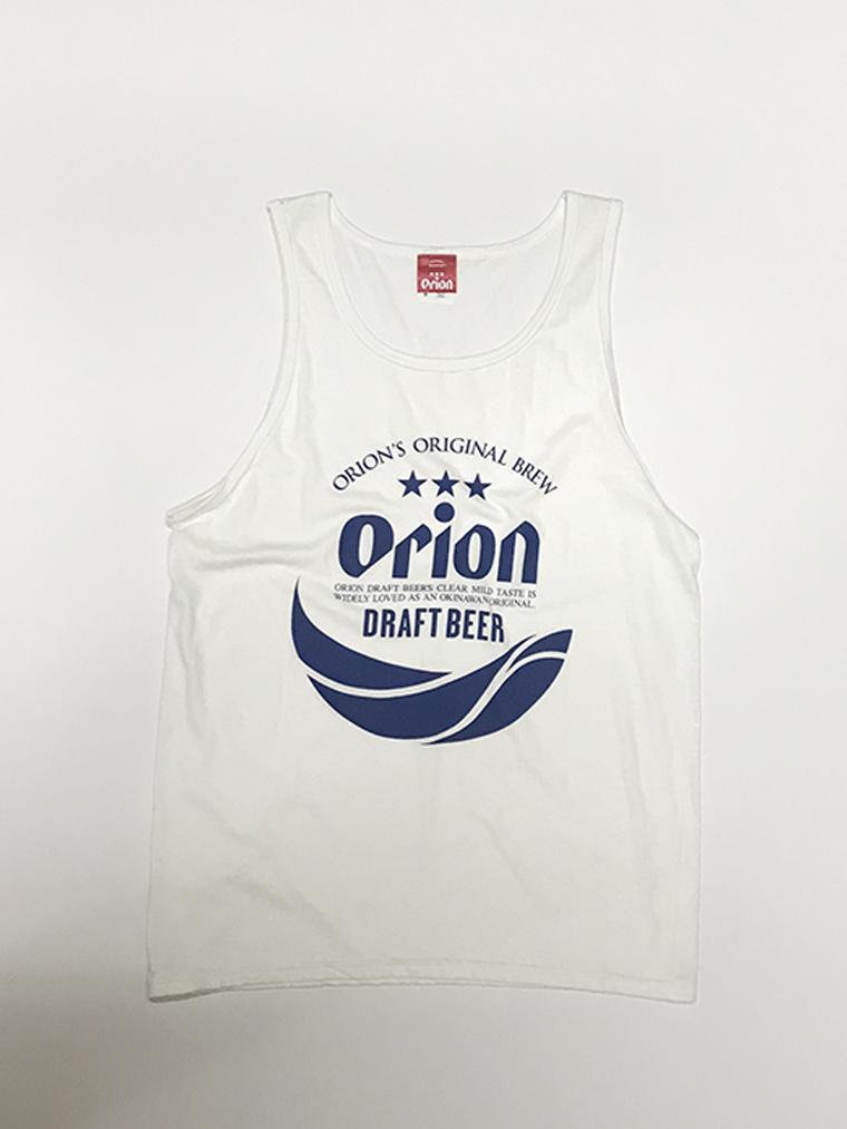 オリオンビール 丸ロゴ タンクトップ 白(WHITE) (インク NAVY) ORIONBEER TANK TOP