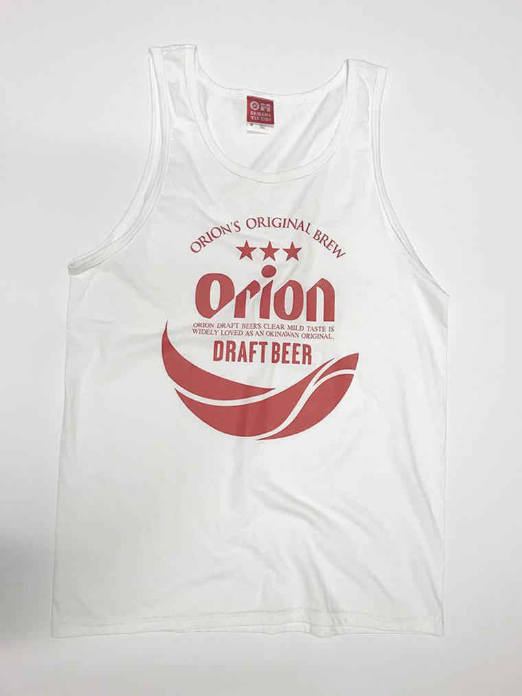 オリオンビール 丸ロゴ  タンクトップ 白(WHITE) (インク RED) ORIONBEER TANK TOP
